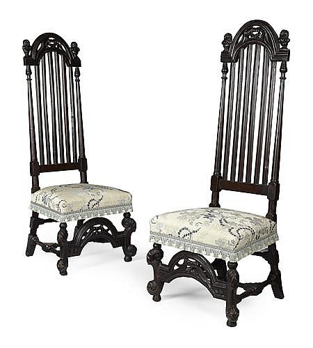 PAIR OF CHARLES II BEECH HALL CHAIRS LATE 17TH CENTURY 49cm wide, 135cm high, 42cm deep