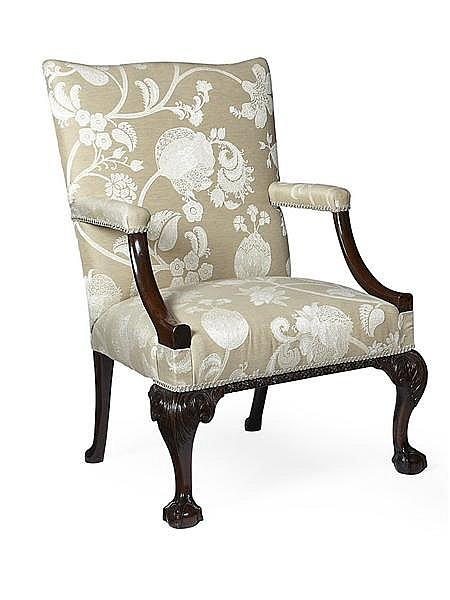 IRISH GEORGE III MAHOGANY LIBRARY ARMCHAIR 18TH CENTURY 69cm wide, 103cm high, 59cm deep