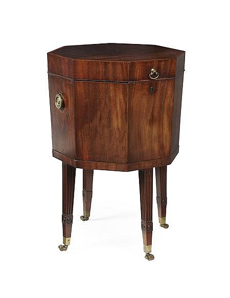 GEORGE III MAHOGANY AND SATINWOOD CROSSBANDED OCTAGONAL CELLARETTE 18TH CENTURY 46cm wide, 71cm high, 46cm deep