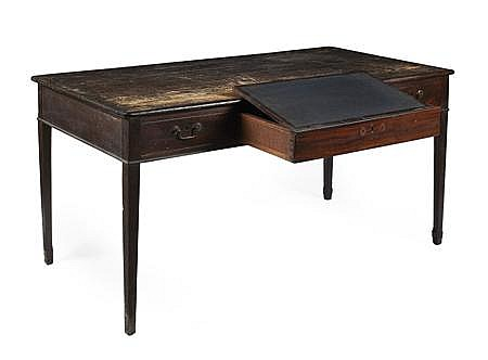 GEORGE III MAHOGANY AND PINE WRITING TABLE 18TH CENTURY 152cm wide, 76cm high, 76cm deep