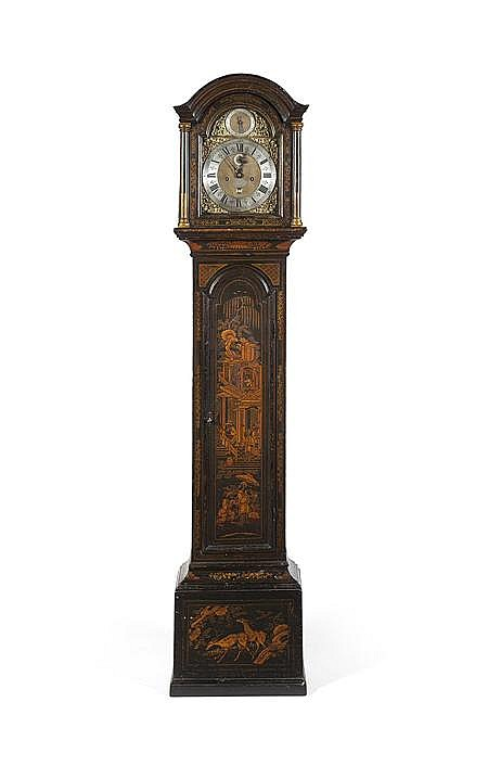 GEORGE III JAPANNED LONGCASE CLOCK BY RICHARD FINCH 18TH CENTURY 42cm wide, 198cm high