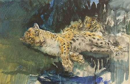 JOHN MACALLAN SWAN R.A., R.W.S. (BRITISH, 1847-1910) LEOPARDESS AND CUBS 28cm x 44cm