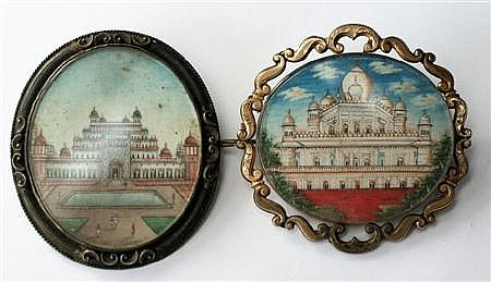 INDIAN INTEREST - two brooches Each 52mm x 45mm, 43mm x 50mm
