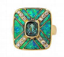 A tourmaline, opal and diamond set cocktail ring Ring size: Q, plaque: 20mm x 17mm
