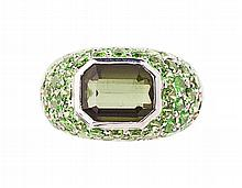 A green tourmaline set cocktail ring Ring size: O