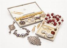 A collection of silver and costume jewellery