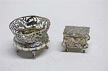 A 19th century Dutch silver miniature chest Width of chest: 43mm