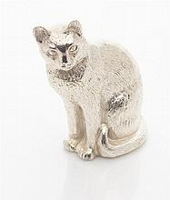 A small silver model of a cat Height: 65mm, 3.3oz