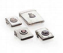 A group of four silver Vesta cases with applied enamel badges Height: 79mm