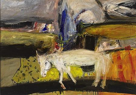 § NAEL HANNA (IRAQI-SCOTTISH B.1959 MYSTERIOUS COW 71cm x 101cm (28in x 40in)