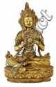 SINO-TIBETAN GILT BRONZE FIGURE OF A DEITY 21.5 cm high