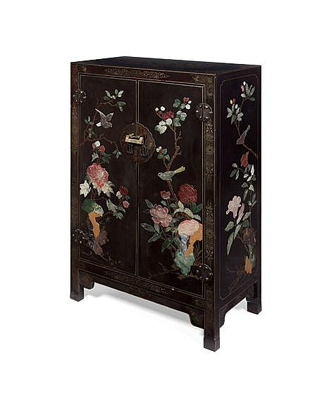 CHINESE BLACK LACQUER AND HARDSTONE CABINET 20TH CENTURY 69cm wide, 103cm high, 34cm deep
