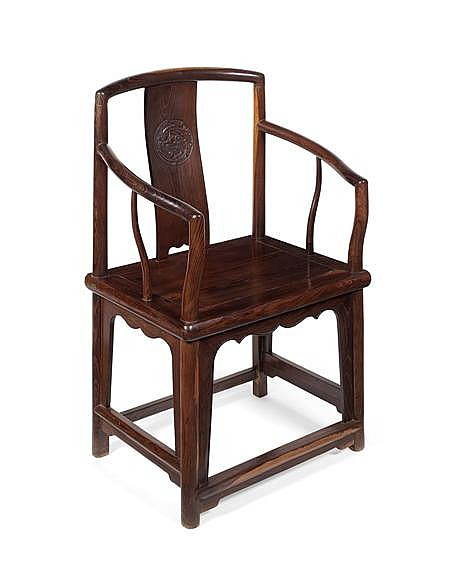 CHINESE HARDWOOD ARMCHAIR LATE QING DYNASTY 54cm wide, 96cm high
