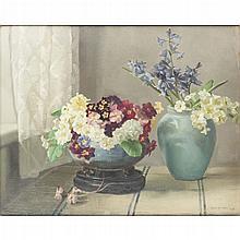 NORA HEYSEN (AUSTRALIAN 1911-2004) A STILL LIFE OF SPRING FLOWERS 41cm x 51cm (16in x 20in)