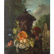 GERRIT JOHAN VAN LEEUWEN (DUTCH 1756-1825) STILL LIFE WITH URN AND CLASSICAL RUINS 106cm x 91cm (41.75in x 36in)