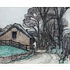 ROBERT POLEHILL BEVAN (BRITISH 1865-1925) COTTAGES BY A WOODED LANE 22cm x 27cm (8.5in x 10.5in), Robert Bevan, £700