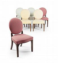SET OF SIX GEORGE III STYLE MAHOGANY AND UPHOLSTERED SIDE CHAIRS MODERN 53cm wide, 91cm high, 47cm deep