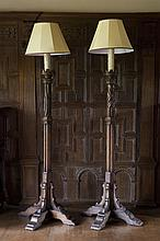 PAIR OF LARGE OAK TORCHERES 19TH CENTURY 84cm wide, 223cm high