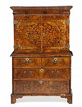 WILLIAM & MARY WALNUT AND MARQUETRY CABINET ON CHEST LATE 17TH CENTURY 109cm wide, 169cm high, 52cm deep