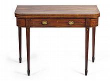 GEORGE III MAHOGANY AND INLAID FOLDOVER TEA TABLE LATE 18TH CENTURY 92cm wide, 73cm high, 44cm deep (closed)