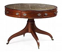 LATE GEORGE III MAHOGANY DRUM LIBRARY TABLE CIRCA 1800 105cm diameter, 74cm high