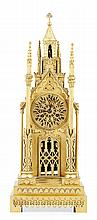 VICTORIAN GILT METAL 'CATHEDRAL' MANTEL CLOCK MID 19TH CENTURY 18cm wide, 47.5cm high, 11.5cm deep