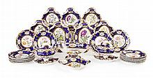 ENGLISH PORCELAIN PART DESSERT SERVICE 19TH CENTURY cake plate 21.5cm wide; tureen 22cm wide