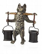 AUSTRIAN COLD PAINTED BRONZE FIGURE OF A CAT LATE 19TH/ EARLY 20TH CENTURY 8.5cm high