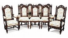 SET OF NINE VICTORIAN OAK FRAMED WILLIAM & MARY STYLE DINING CHAIRS 19TH CENTURY 49cm wide, 107cm high, 42cm deep