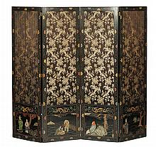 CHINESE FOUR PANEL LACQUER SCREEN 19TH CENTURY 199cm high, 244cm long