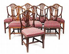 SET OF EIGHT GEORGE III STYLE OAK DINING CHAIRS 19TH CENTURY 50cm wide, 96cm high, 41cm deep