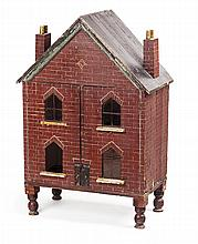VICTORIAN PAINTED WOOD DOLL'S HOUSE MID 19TH CENTURY 67cm wide, 99cm high, 38cm deep