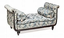 WILLIAM IV EBONISED AND UPHOLSTERED ADJUSTABLE DAY BED CIRCA 1835 161cm long, 83cm high, 71cm deep; 191cm long extended