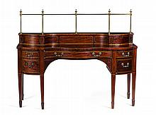 GEORGE III STYLE MAHOGANY CROSSBANDED SIDEBOARD LATE 19TH CENTURY 186cm wide, 142cm high, 69cm deep