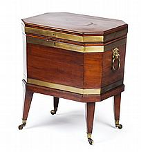 GEORGE III MAHOGANY AND BRASS BOUND CELLARETTE CIRCA 1760 52cm wide, 61cm high, 40cm deep