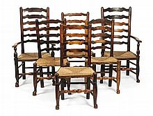 SET OF SIX STAINED ASH LADDERBACK CHAIRS 19TH CENTURY 50cm wide, 99cm high, 37cm deep
