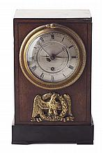 REGENCY MAHOGANY, EBONY AND GILT BRONZE MOUNTED CALENDAR TABLE CLOCK BY VULLIAMY, LONDON CIRCA 1820 13cm wide, 20cm high, 10cm deep