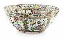 CHINESE CANTON FAMILLE ROSE PUNCH BOWL 19TH CENTURY 37cm diameter