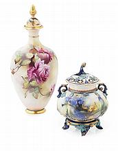 TWO ROYAL WORCESTER VASES DATED 1908, SHAPE 294
