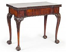 GEORGE III MAHOGANY FOLDOVER GAMES TABLE CIRCA 1760 92cm wide, 74cm high, 45cm deep