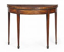 GEORGE III MAHOGANY AND ROSEWOOD FOLDOVER CARD TABLE 18TH CENTURY 90cm wide, 73cm high, 45cm deep (closed)