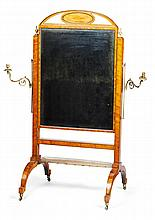 GEORGE III SATINWOOD AND KINGWOOD CROSSBANDED CHEVAL MIRROR LATE 18TH CENTURY 94cm wide, 166cm high, 76cm deep