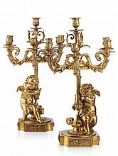 PAIR OF FRENCH ORMOLU FIGURAL CANDELABRA, PROBABLY BY HENRI PICCARD 19TH CENTURY 55cm high