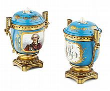 PAIR OF SEVRES GILT BRONZE MOUNTED BRULE-PARFUMS 19TH CENTURY 19cm high