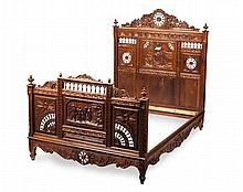 FRENCH BRETON CARVED OAK BED LATE 19TH CENTURY 146cm wide, 169cm high, 203cm long