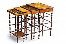 SET OF REGENCY SPECIMEN WOOD NEST OF TABLES BY GILLOWS OF LANCASTER CIRCA 1815 largest 68cm wide, 82cm high, 32cm deep