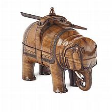 <sup>Y</sup> VICTORIAN NOVELTY OLIVEWOOD ELEPHANT TRAVELLING INKSTAND 19TH CENTURY 15.5cm wide
