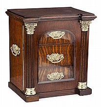 VICTORIAN OAK AND BRASS MOUNTED JEWELLERY CHEST LATE 19TH CENTURY 28cm wide, 30cm high, 20cm deep