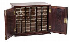 MAHOGANY CASED SIX VOLUME SET LEATHER BOUND BIBLE, ANNOTATED BY THOMAS SCOTT LONDON, 1825 40cm wide, 33cm high, 24.5cm deep