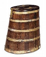 EARLY VICTORIAN OAK AND BRASS BOUND RUM BARREL EARLY 19TH CENTURY 74cm wide, 83cm high, 47cm deep